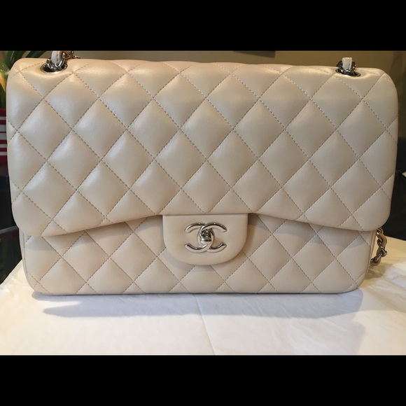 04629606edb3 CHANEL Handbags - Beige Chanel lamb skin leather double flap bag